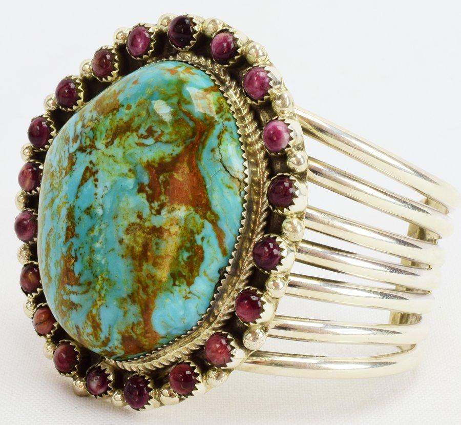 Navajo Large Stone Turquoise Bracelet by Ray Nez