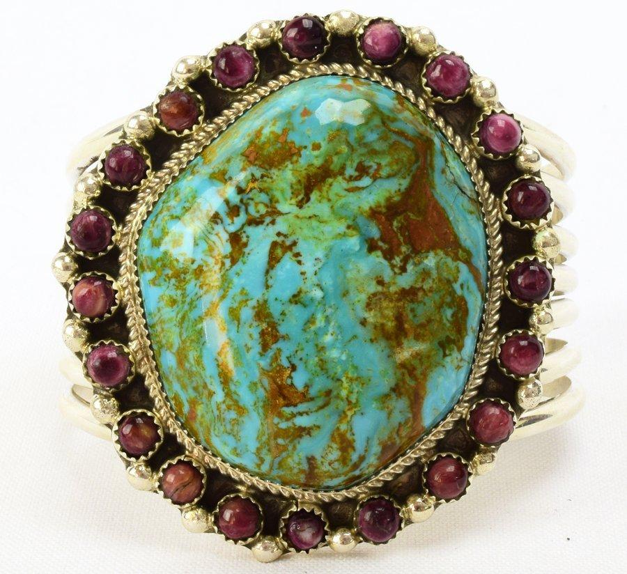 Navajo Large Stone Turquoise Bracelet by Ray Nez - 2