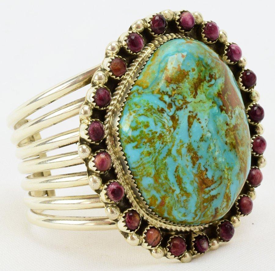 Navajo Large Stone Turquoise Bracelet by Ray Nez - 3