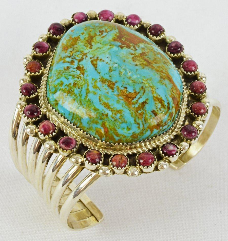 Navajo Large Stone Turquoise Bracelet by Ray Nez - 4