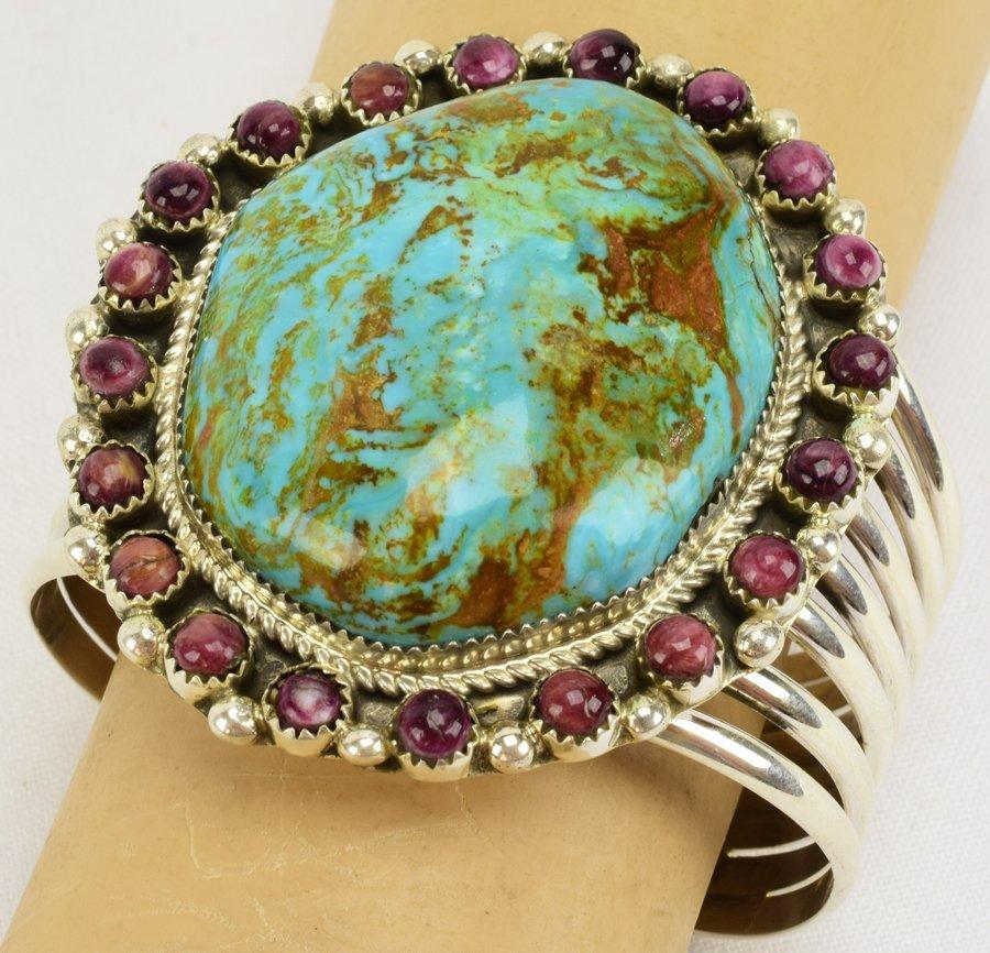 Navajo Large Stone Turquoise Bracelet by Ray Nez - 5