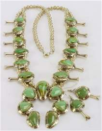 Masterpiece Squash Blossom Necklace set -Kingman Green