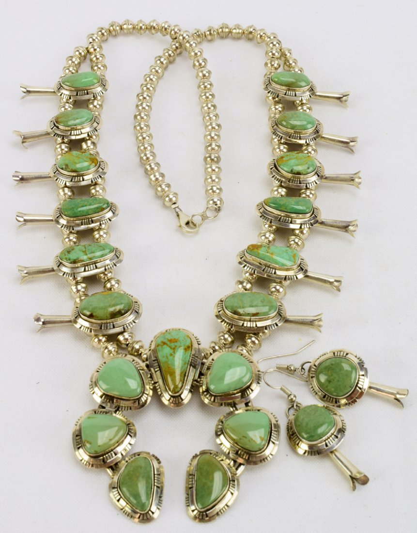 Masterpiece Squash Blossom Necklace set -Kingman Green