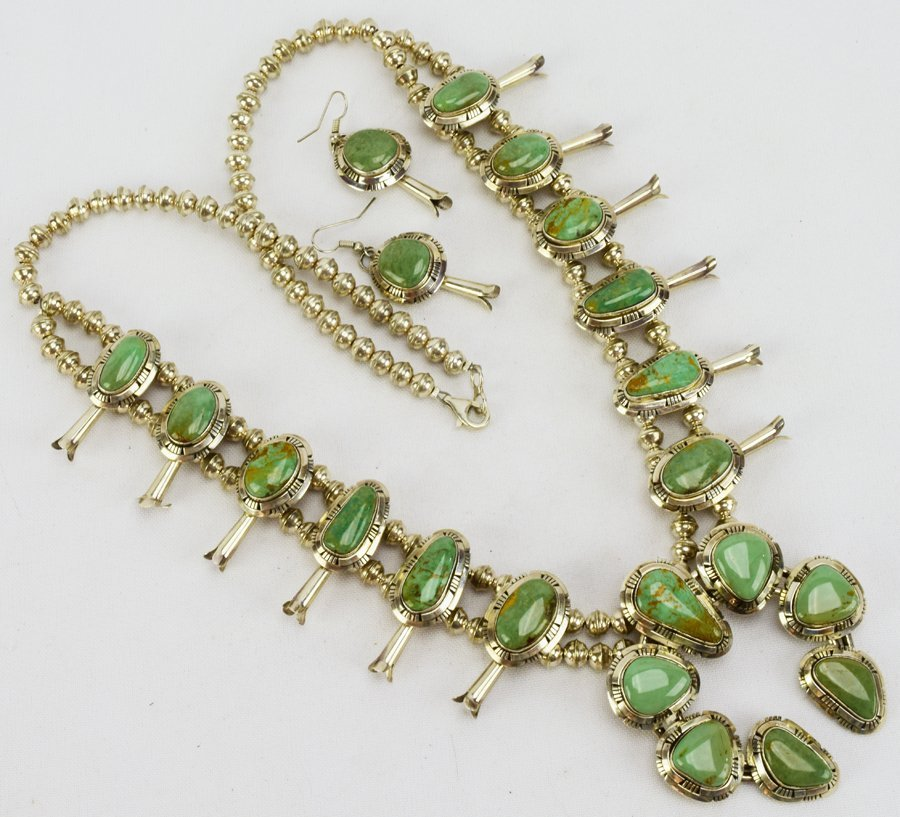 Masterpiece Squash Blossom Necklace set -Kingman Green - 2
