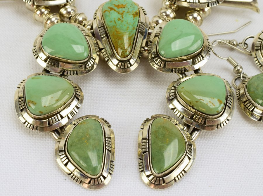 Masterpiece Squash Blossom Necklace set -Kingman Green - 3