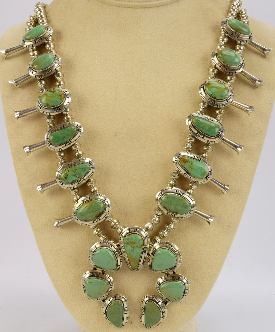 Masterpiece Squash Blossom Necklace set -Kingman Green - 6