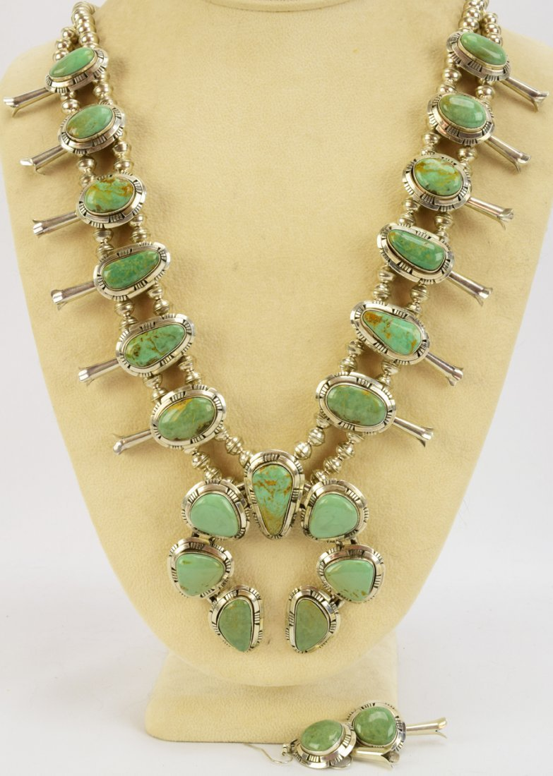 Masterpiece Squash Blossom Necklace set -Kingman Green - 7