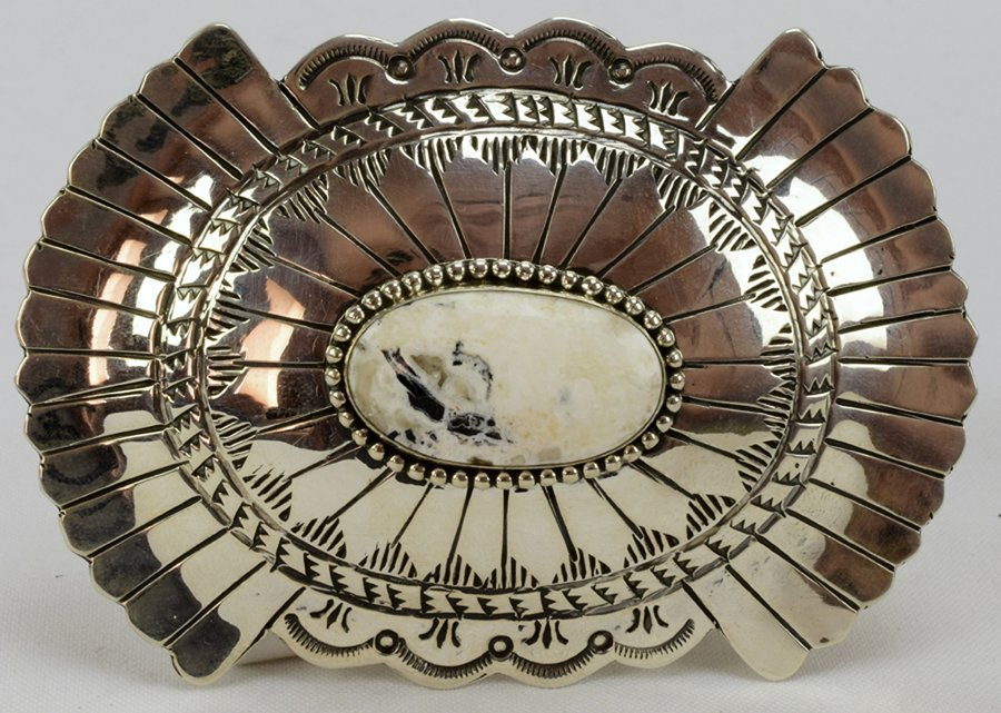 Navajo Sterling Masterpiece Belt Buckle-Marcella James