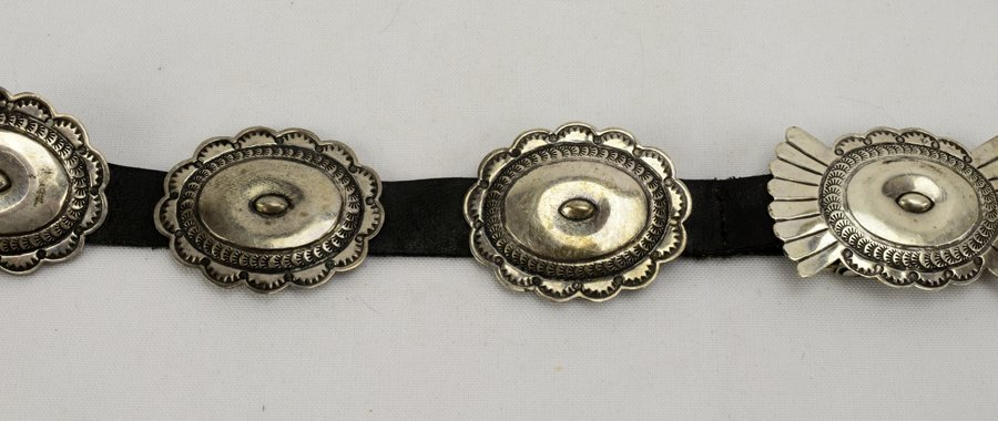 Old Pawn Sterling Concho Belt by L. Blackgoat - 2