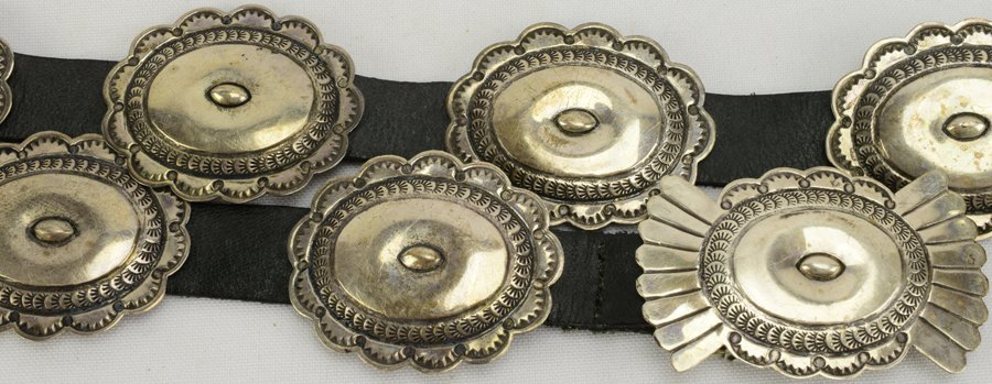 Old Pawn Sterling Concho Belt by L. Blackgoat - 5