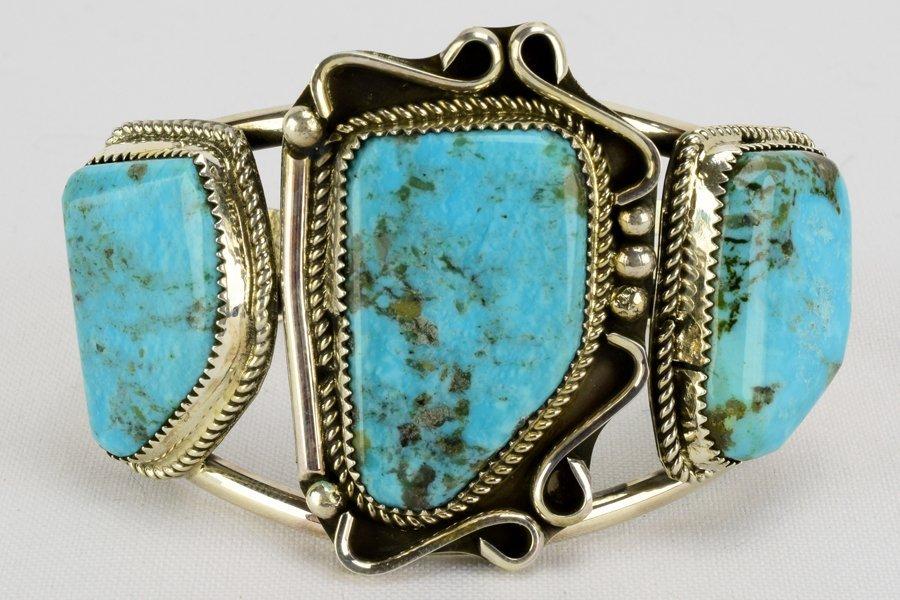 Navajo Sterling Large 3 Stone Turquoise Bracelet