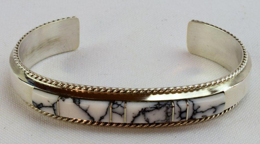 Navajo Sterling White Buffalo Inlay Cuff Bracelet - 2