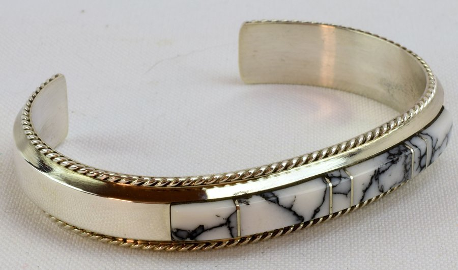 Navajo Sterling White Buffalo Inlay Cuff Bracelet - 3