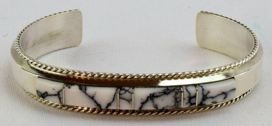 Navajo Sterling White Buffalo Inlay Cuff Bracelet - 4