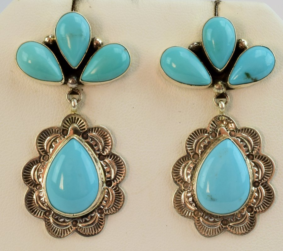 Navajo Natural Turquoise Sterling Earrings