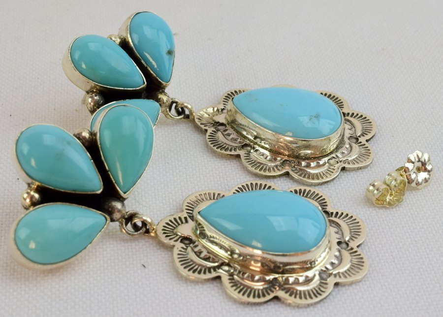 Navajo Natural Turquoise Sterling Earrings - 2
