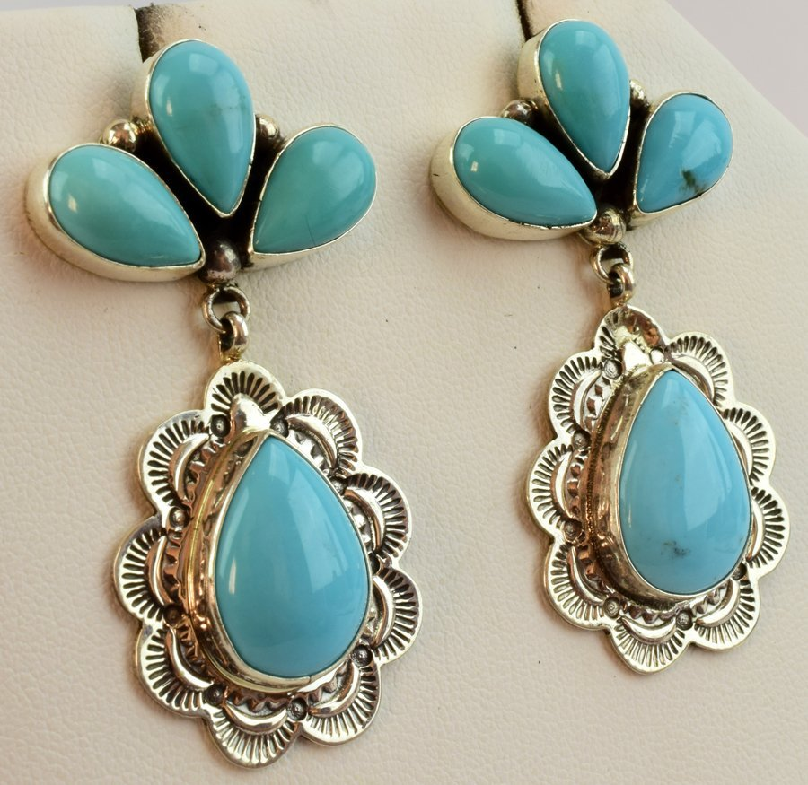Navajo Natural Turquoise Sterling Earrings - 3