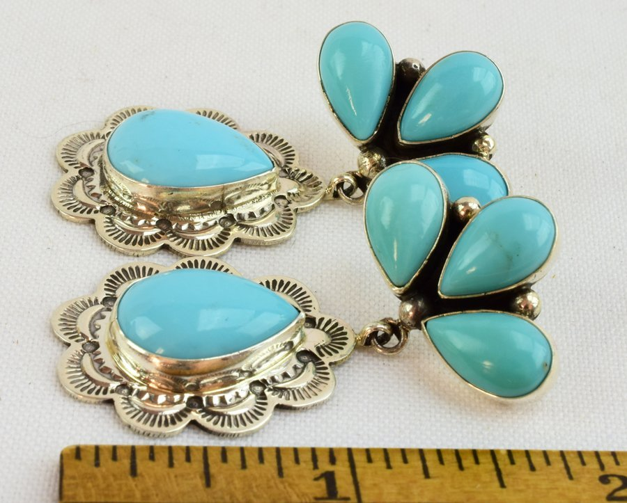 Navajo Natural Turquoise Sterling Earrings - 4