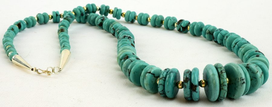 Navajo Natural Turquoise Disc Necklace - 2