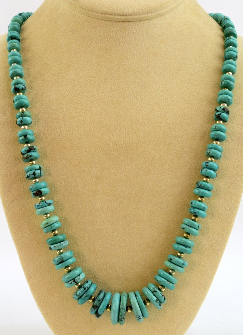 Navajo Natural Turquoise Disc Necklace - 4