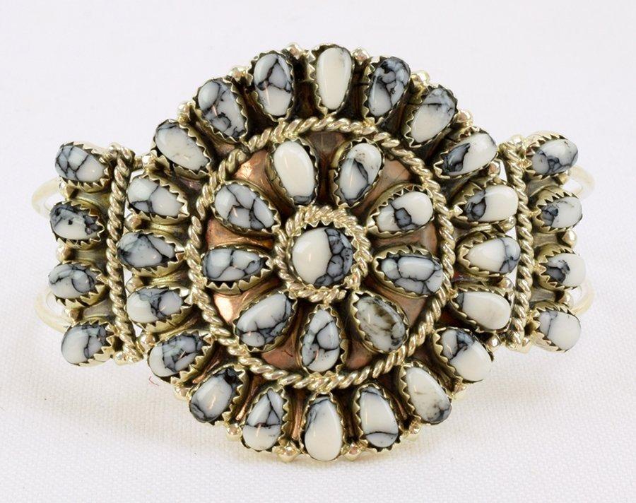 Navajo Sterling White Buffalo Cluster Cuff Bracelet