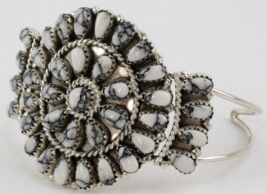 Navajo Sterling White Buffalo Cluster Cuff Bracelet - 2