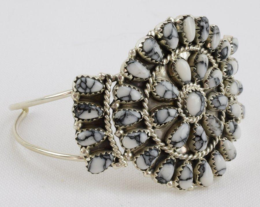 Navajo Sterling White Buffalo Cluster Cuff Bracelet - 3