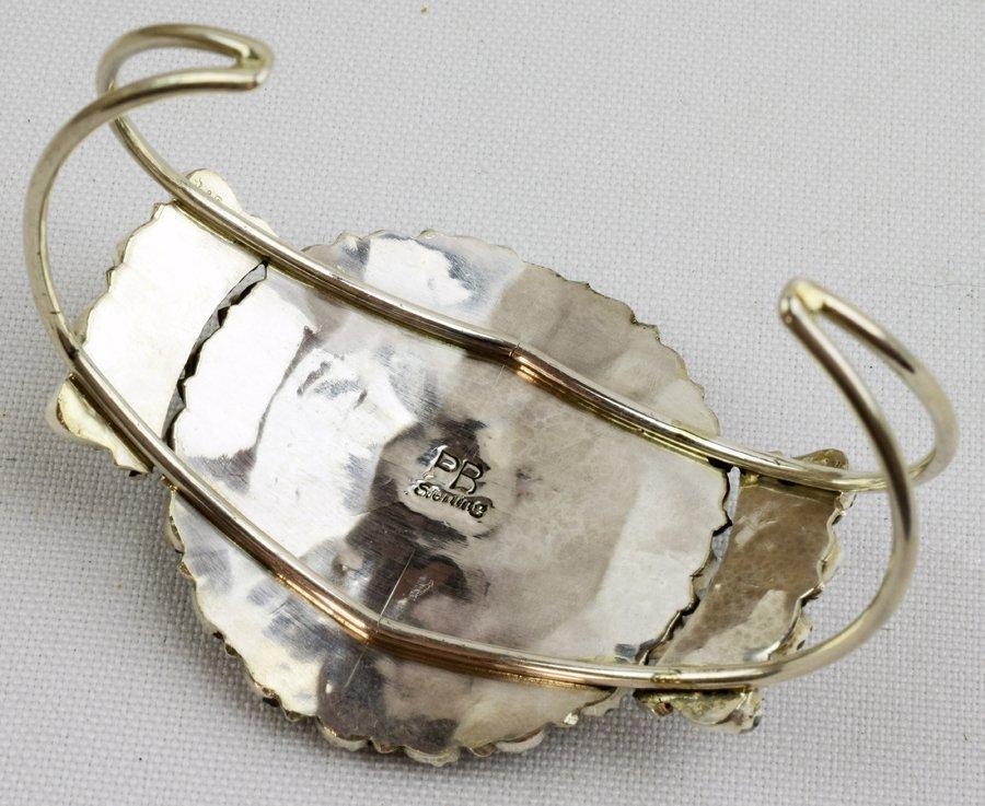 Navajo Sterling White Buffalo Cluster Cuff Bracelet - 5