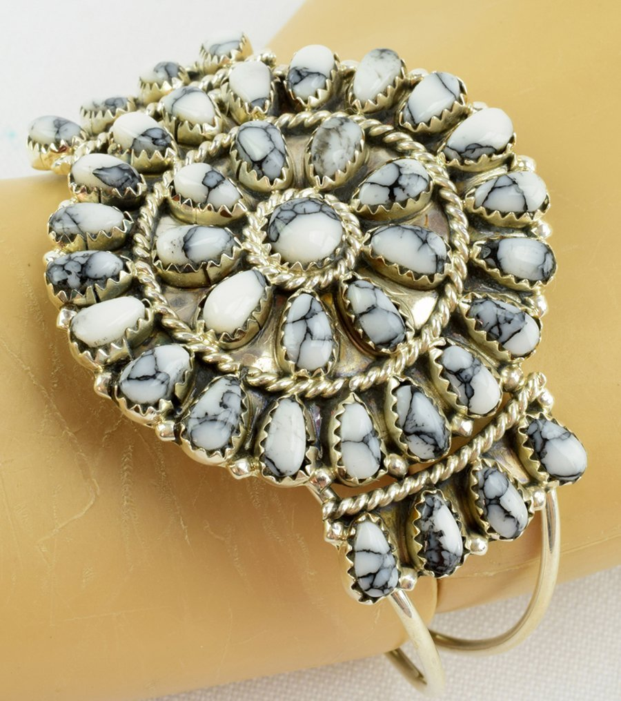 Navajo Sterling White Buffalo Cluster Cuff Bracelet - 6