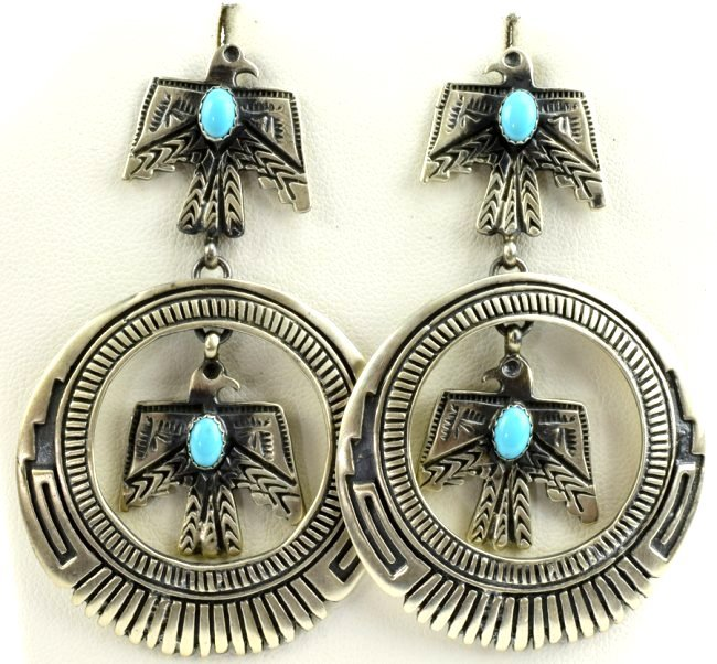 Native American Thunderbird Earrings w/Turq.