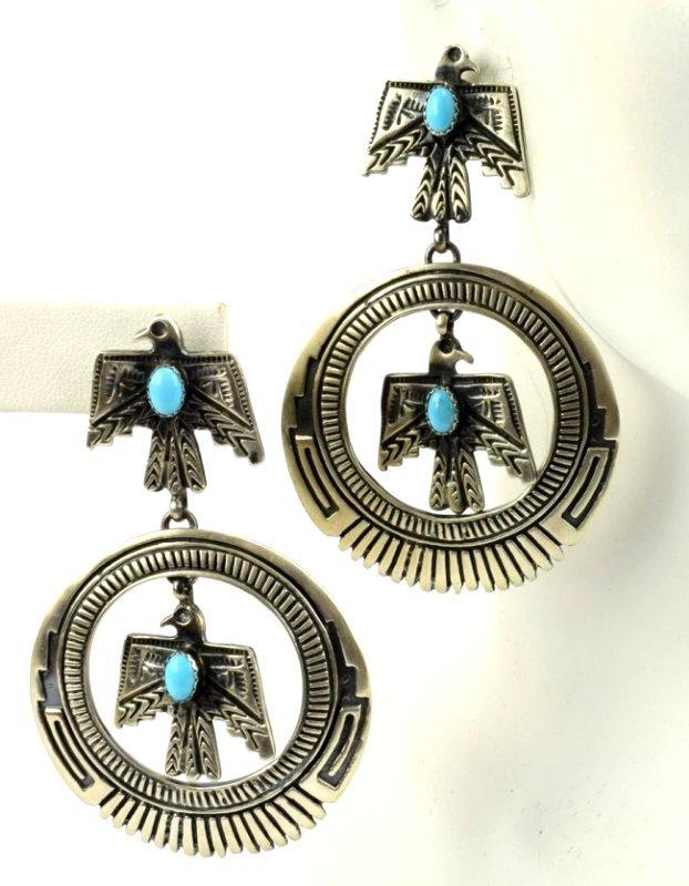 Native American Thunderbird Earrings w/Turq. - 2