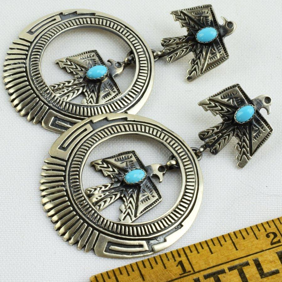 Native American Thunderbird Earrings w/Turq. - 3