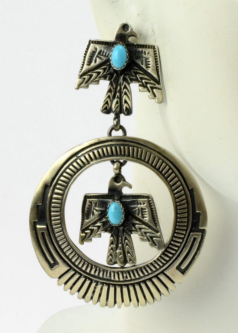 Native American Thunderbird Earrings w/Turq. - 4