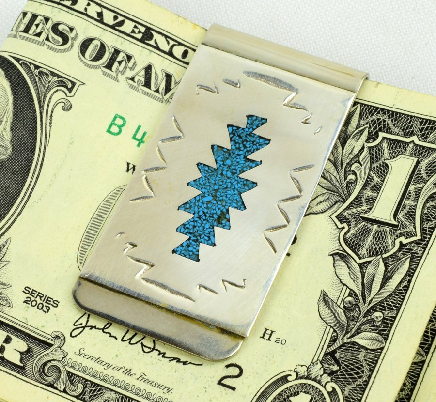 Navajo Sterling Turquoise Chip Inlay Money Clip