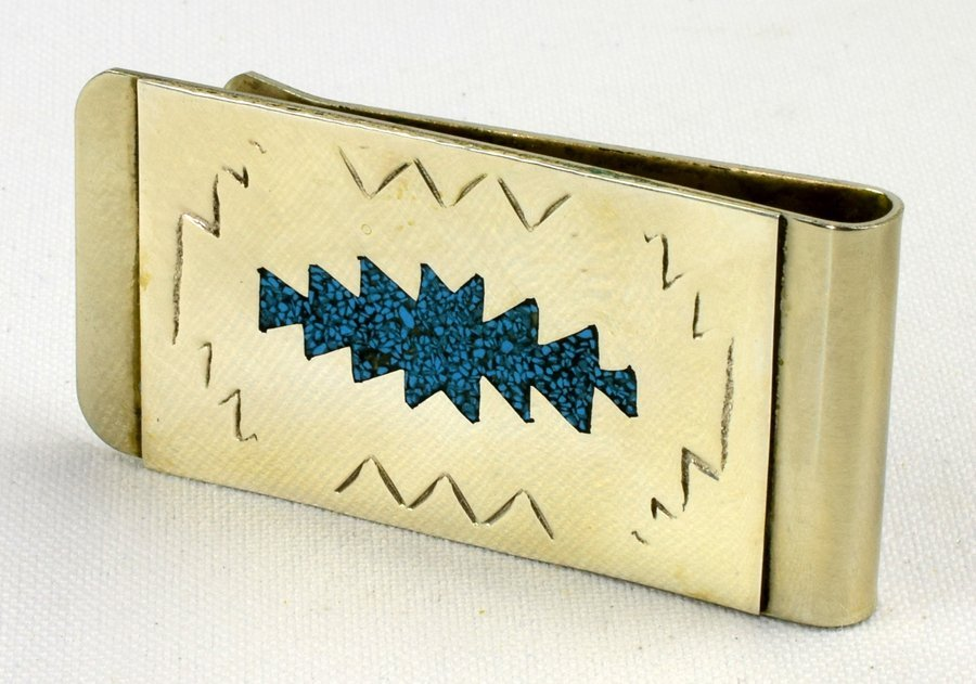 Navajo Sterling Turquoise Chip Inlay Money Clip - 2