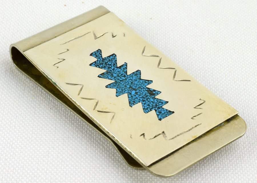 Navajo Sterling Turquoise Chip Inlay Money Clip - 3