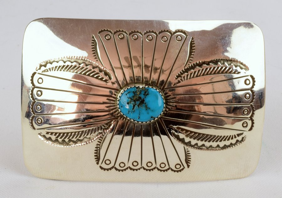 Native American Sterling Silver Belt Buckle w/turquoise