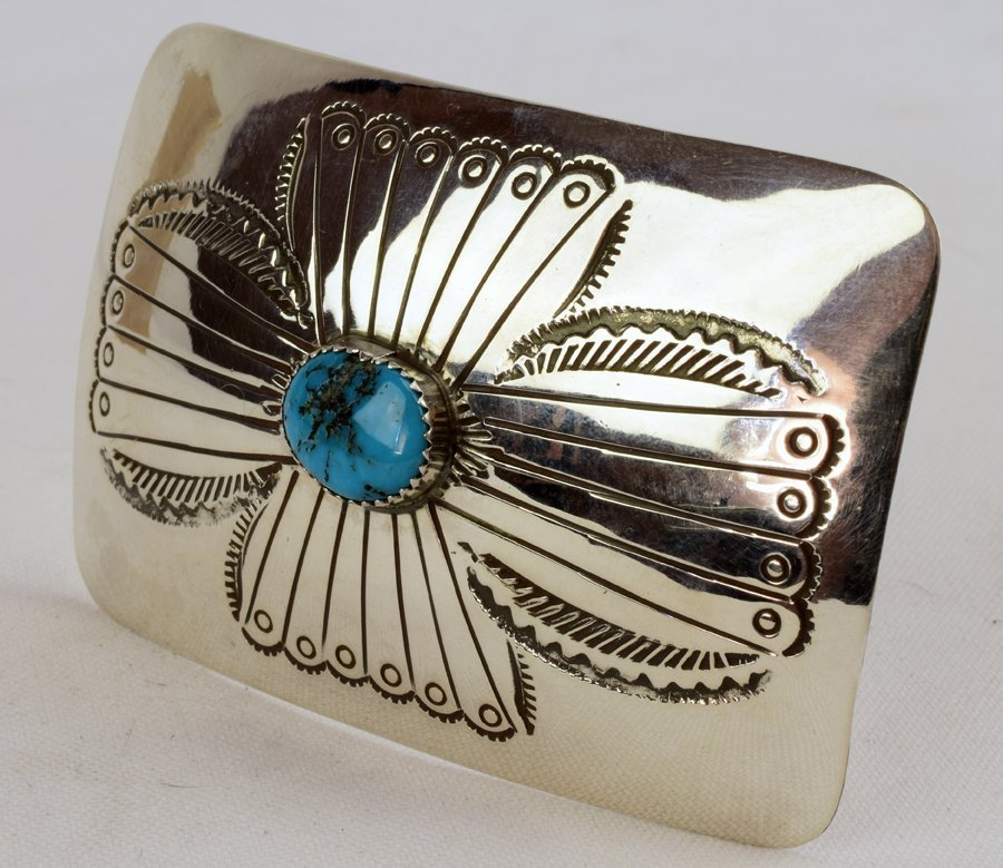 Native American Sterling Silver Belt Buckle w/turquoise - 2