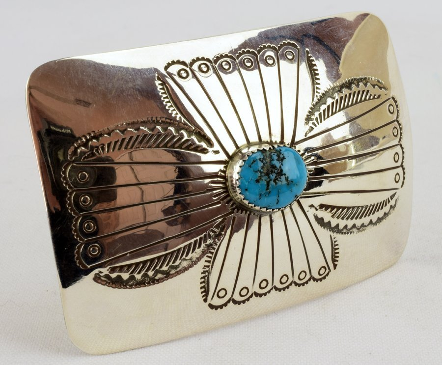 Native American Sterling Silver Belt Buckle w/turquoise - 3