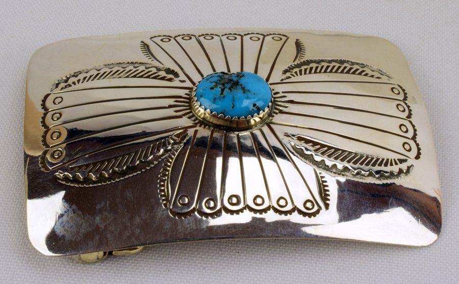 Native American Sterling Silver Belt Buckle w/turquoise - 4