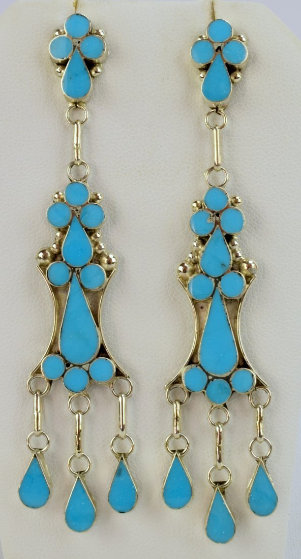 Vivianita Booqua SterlingTurquoise Inlay Earrings