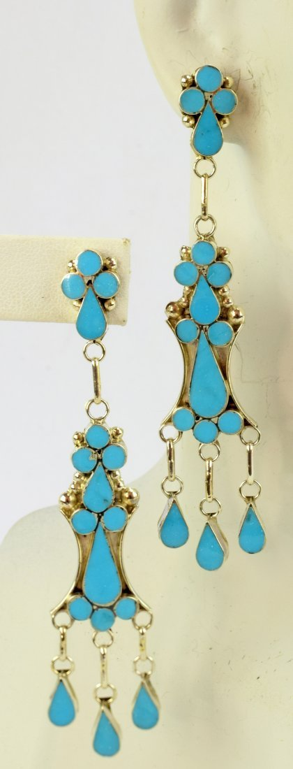 Vivianita Booqua SterlingTurquoise Inlay Earrings - 2