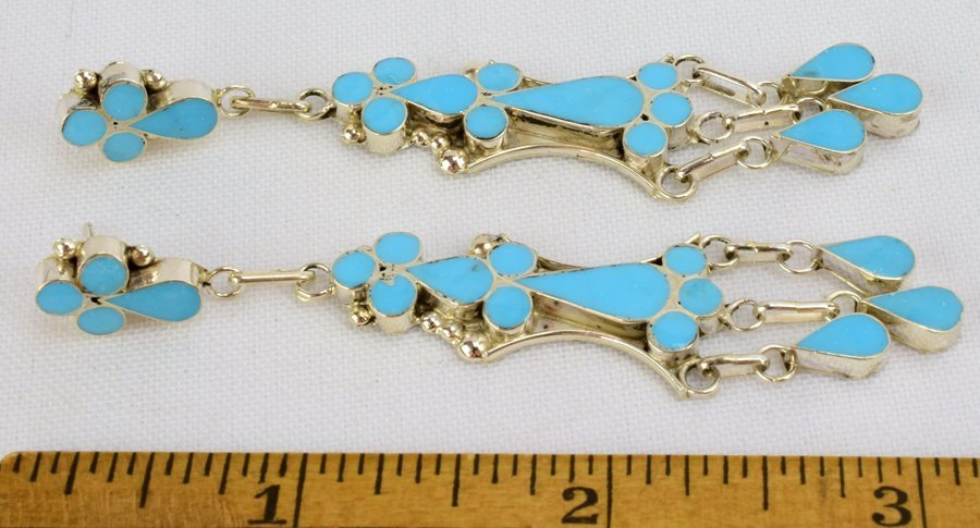 Vivianita Booqua SterlingTurquoise Inlay Earrings - 3