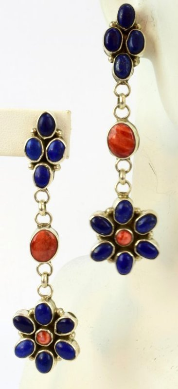 Navajo Sterling Lapis & Spiny Oyster Dangle Earrings