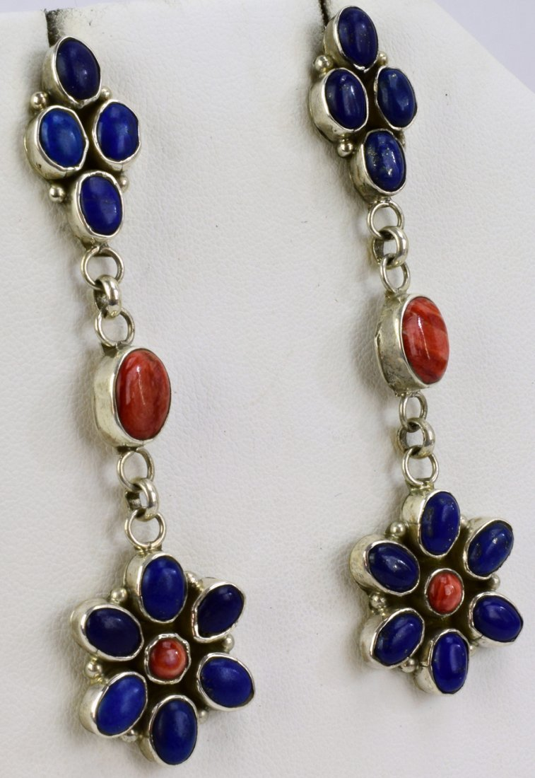 Navajo Sterling Lapis & Spiny Oyster Dangle Earrings - 2