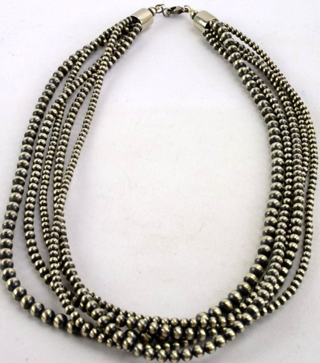 Navajo Sterling 5 Strand Bench Bead Necklace-24 in. - 3