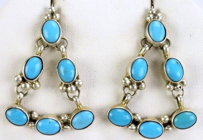 Navajo Sterling Silver Turquoise Earrings - 2