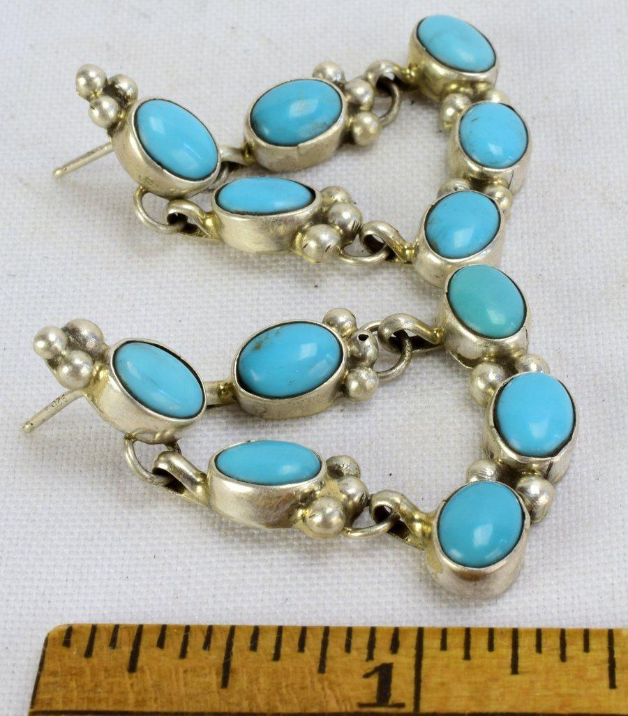 Navajo Sterling Silver Turquoise Earrings - 3