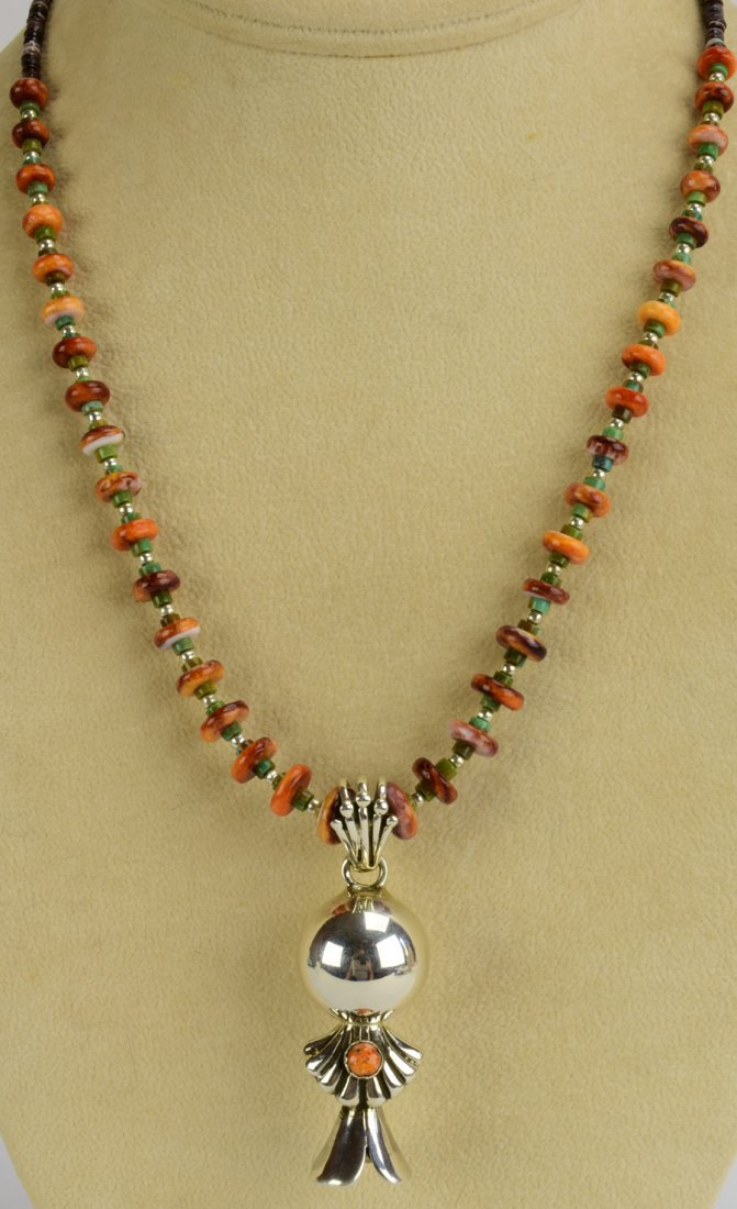 Navajo Sterling Silver Spiny Oyster Blossom Necklace - 4