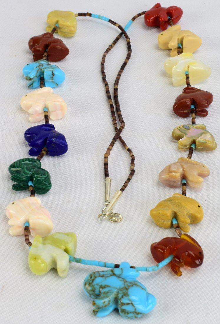 Navajo Heishi and Multi-Stone Rabbit Fetish Necklace - 2